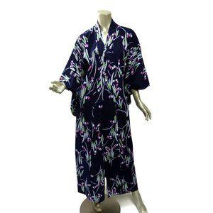 Vintage Cotton Yukata Midnight Blue Pink Some Fade